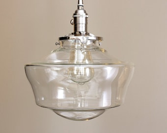 """Schoolhouse lighting with 12"""" clear schoolhouse glass shade pendant light"""