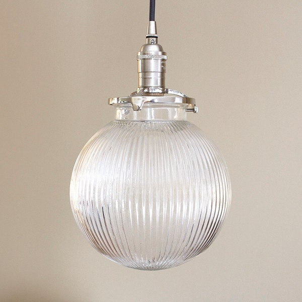 Pendant Light Fixture 8 Round Ribbed Glass Globe SALE