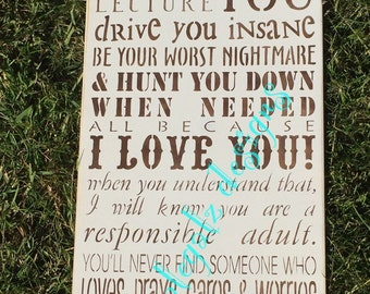 PARENTS PROMISE, Handpainted Prim Wood Sign,Typography, Wall Decor, Family, Love