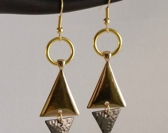 Gold and charcoal gray pierced drop earrings