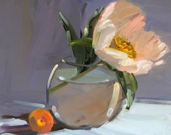 Single Peony with Apricot , Archival Print of Amy Brnger Oil Painting