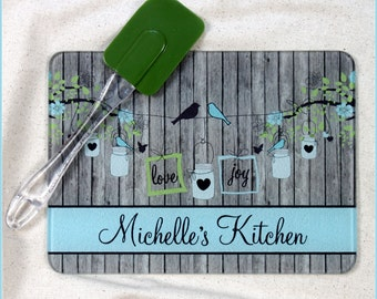 Personalized Glass Cutting Board Custom Monogrammed Gifts Christmas Gifts for Mom Hostess Gifts for Cooks Housewarming Monogram Gift