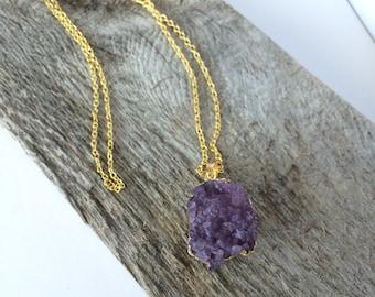 Large Purple Druzy Stone Necklace--Drusy Stone Necklace