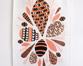 Pink and coral shell tea towel  •  retro / mid-century modern / geometric design