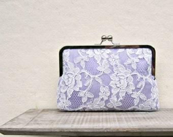 Lilac clutch, lavender clutch, lace bridal clutch, lavender bridesmaid clutch, lilac lace purse, lavender wedding, rustic wedding