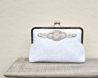 White lace clutch, bridal clutch, great gatsby wedding, pearl and rhinestone white clutch, rhinestone clutch, bridesmaid clutch, white purse