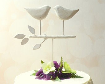 White Wedding Cake Topper, Bird Cake Topper/ Love Birds for Your Rustic Wedding/ Wedding Cake Topper Rustic