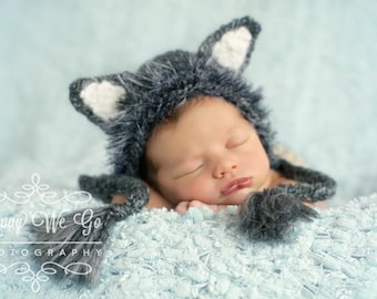 Newborn Boy Prop - Wolf Bonnet -  Made to Order in 3-4 Weeks - Wolf Hat - Boy Bonnet - Baby Boy Prop - Baby Wolf Costume - Baby Wolf Hat