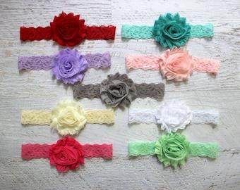 Lace Headband, Choose 1 Headband, 9 Colors available, Newborn Headband, Baby Headband, Baby Flower Headband