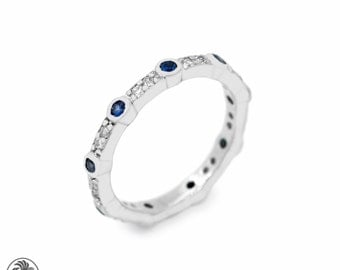 Stackable Ring, Diamond and Blue Sapphire Band, Blue Sapphire Band, Round Blue Sapphire Band, Sapphire and Diamond Band   LDR01915