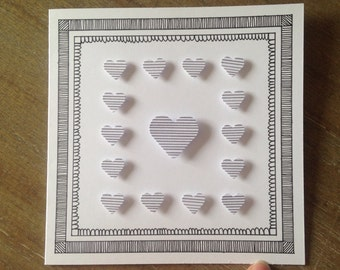 Black & White Hearts Greeting Card