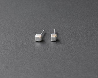 Small stud earrings, silver cube studs, organic studs, minimalist silver studs
