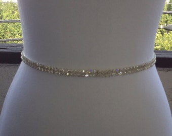 2 Line Rhinestone Wedding Sash, Bridal Wedding Belt Sash,Flower Girl and Bridsmadie Sash