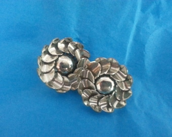 Vintage Chunky Silver-tone Clip-on Earrings
