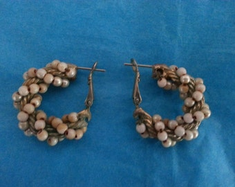 Vintage Braided Silver Cord and Bead Earrings