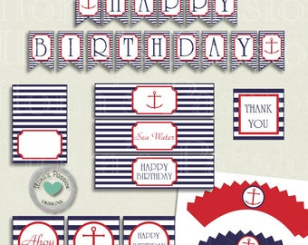 Nautical Birthday Party Decor - Nautical Birthday Printables - Nautical Party Printables - Nautical Birthday Party Package