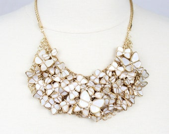 Butterfly Bib Necklace Bridal Statement Necklace Ivory White Necklace Sea Shell Necklace