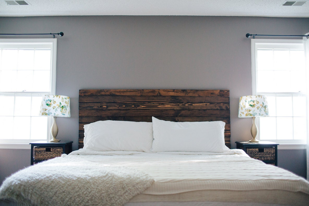 Wood Stained Headboard Floating King Sized Distressed Bed