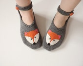 I Love Fox Slippers, Hand Knit Turkish Slippers, Grey Turkish Socks, Fox Knitted Slippers