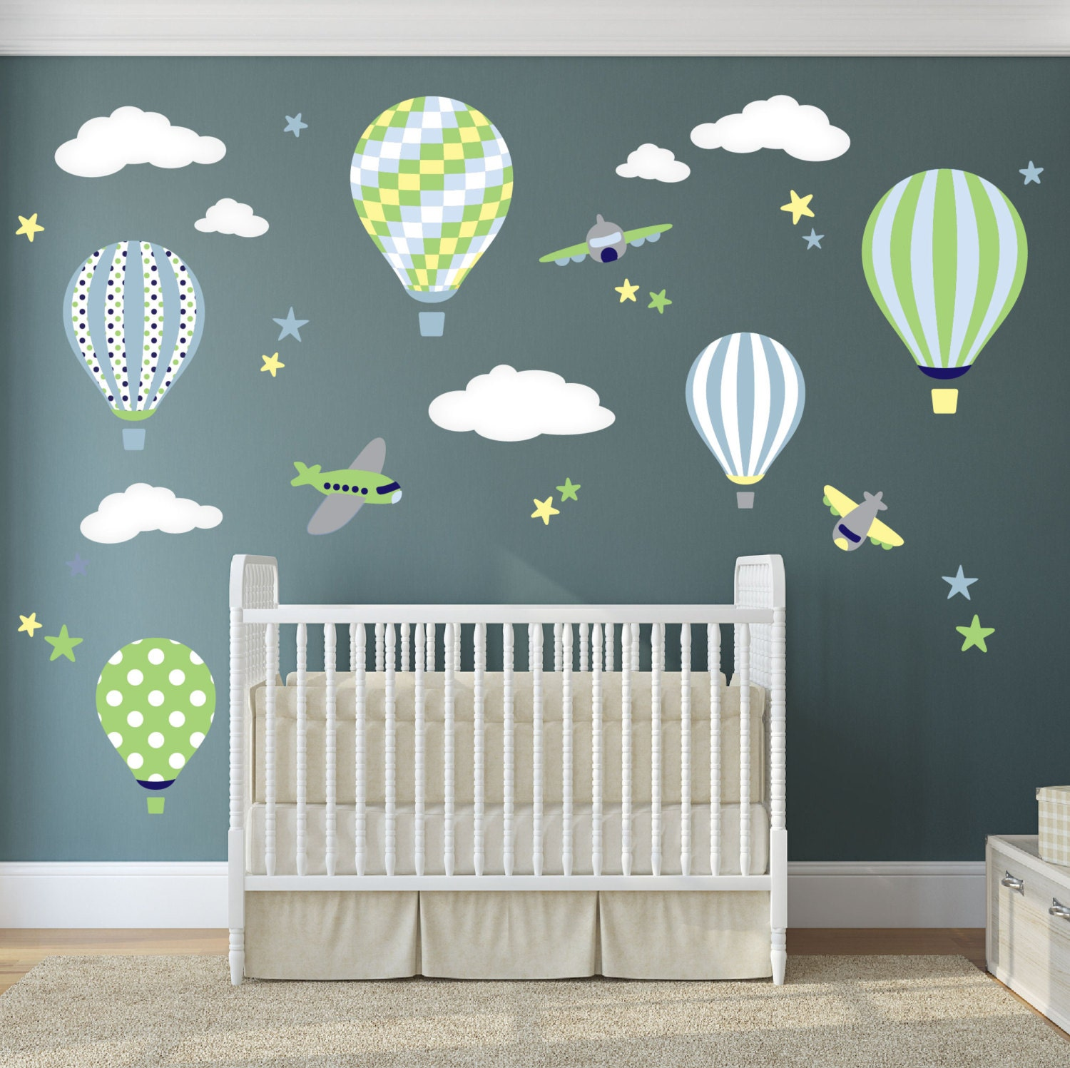 Balloon decal plane wall stickers yellow stars and white zoom amipublicfo Choice Image