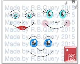 Face Embroidery Design Doll Cheeks Nose Mouth Lips Puppet Smile Dolls Faces Digital Download 4x4 - Zip File PES Many Formats