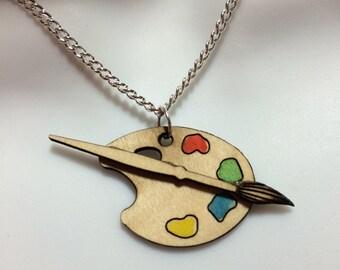 laser cut Birch wood 'artists Palette' necklace
