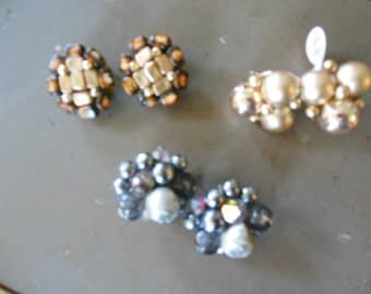 Earrings Lot of Three (3) Pairs in Gold/Silver, 1950s Clip On Earrings
