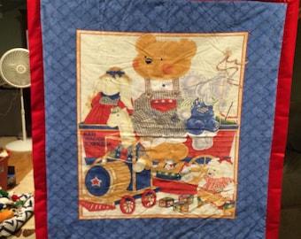 teddy bear homemade quilt 38 by 37