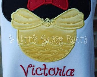 Belle Mickey Ear Shirt- Belle Applique Shirt- Embroidered Shirt- Custom- Belle Shirt- Mouse Head Shirt