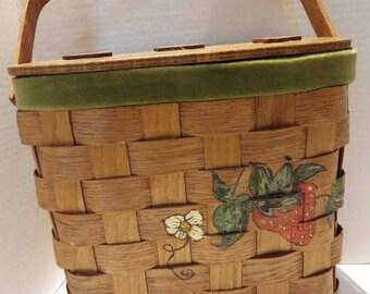 Vintage Woven Wood Basket Handbag Strawberry Hand Painted