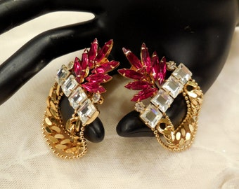 Massive Vintage Red Marquise Cut and Clear  Rhinestones Dangle Earrings