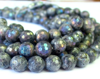 "15"" 6mm 8mm 10mm 12mm 14mm Mystic AB - Larvikite - Black Labradorite - FACETED gemstone round Beads  - full strand - PICK Size"