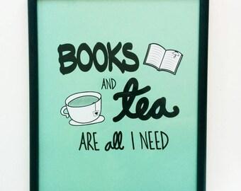 Books and Tea Print (8x10)