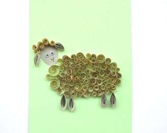 Blank Sheep Card, Year of The Sheep Quilling Card, Sheep Greeting Card, Kid Birthday Card, Animal Card