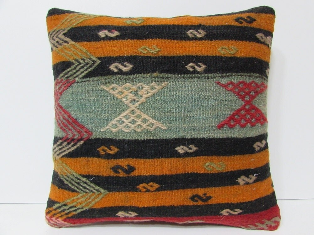 Orange Floor Pillows : southwestern pillow orange floor pillow cover black pattern