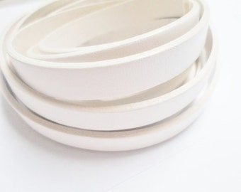 Per 1 Meter 10mm Snow White Flat Leather Cord, white trim,  jewelry supplies, strap,