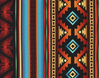 Timeless Tribals Turquoise & Terracotta Cotton Fabric! [Choose Your Cut Size]