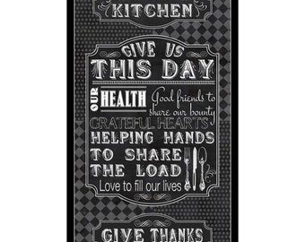 Give US This Day Cotton Fabric Quote Panels for the Kitchen! [By the Panel]