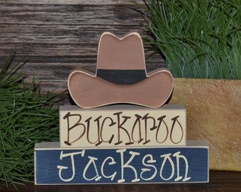 Buckaroo Little Cowboy Nursery Decor Cowboy Baby Shower Decoration Southwestern Decor Cactus Cowboy Hat Cowboy Boots Western Block Set
