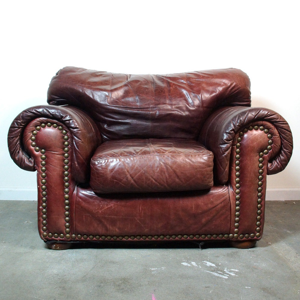 Reserved Leather Club Chair Amp Ottoman Vintage Distressed