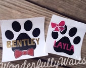 """4"""" Dog Puppy paw print decal with bowtie or bow - any color combination - dog lover - dog mom - fur baby - yeti decal"""