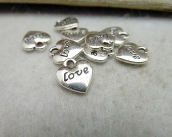 100pcs 10x12mm Antique Silver Heart Love Charms Pendants Jewelry Findings AC8005