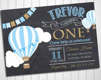 Hot Air Balloon Birthday Party Invitation -Blue and Glitter Hot Air Balloon Invite 5x7 or 4x6 - Balloon Birthday Invitation