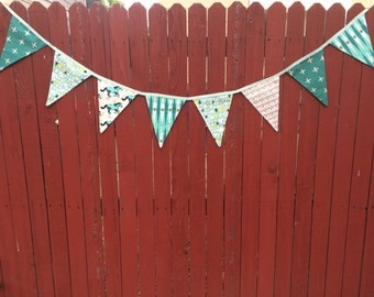 Mint Fabric Bunting Flags