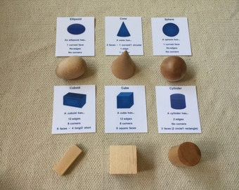 Montessori Geometric Solids Toy for Toddlers with Organic Beeswax Finish
