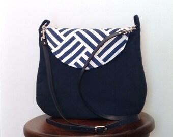 Cross body Bag / Cross body Purse //Shoulder Bag / Purse / Navy Blue and White
