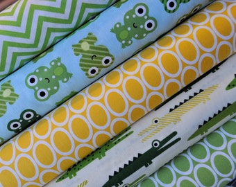Lime Green and Yellow Frog and Alligator Urban Zoologie bundle by Ann Kelle - Robert Kaufman. 100% cotton - Quarter Yard Bundle