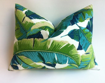One Miami Style Tropical Palm Leaves Pillow Cover Outdoor Pillow 12x18 20x20 22x22 Lumbar Aqua Turquoise Navy Outdoor Pillow cover-WROD