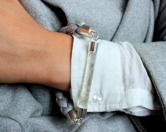 Grey Cotton Rope Bracelet with transparent detail - Cotton Bracelet - Braided Bracelet - Minimalist bracelet - Unique bracelet