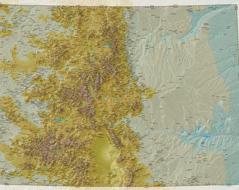 Colorado Map of Peaks and High Places. Many Mountains, Buttes and Hills